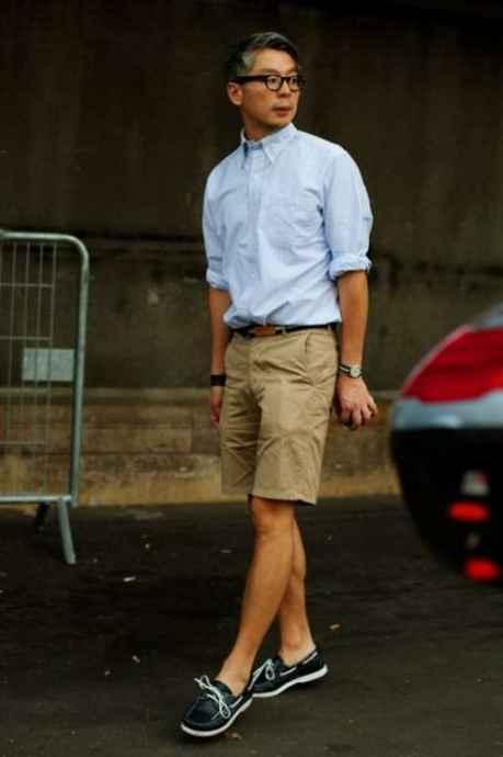 pantaloni scurti kaki si pantofi de iaht
