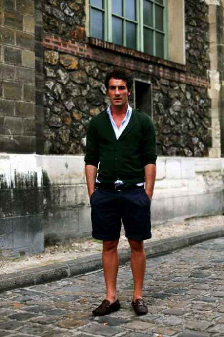 pantaloni scurti, cardigan barbati, loafers, camasa