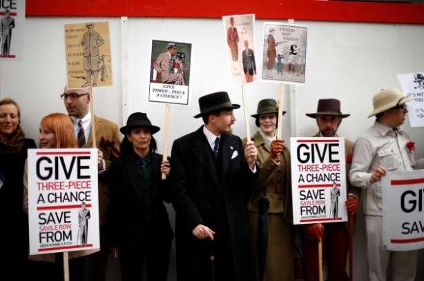 protestul Savile Row, costum