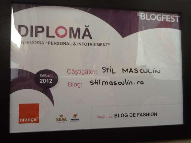 "Stil Masculin – ""cel mai bun blog de fashion"" la RoBlogFest 2012"