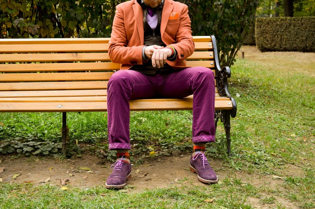 sacou, h&M, pantaloni chino, layering, pantofi mov