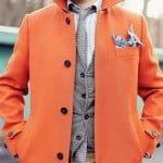 layering, haina portocalie, cravata tricotata