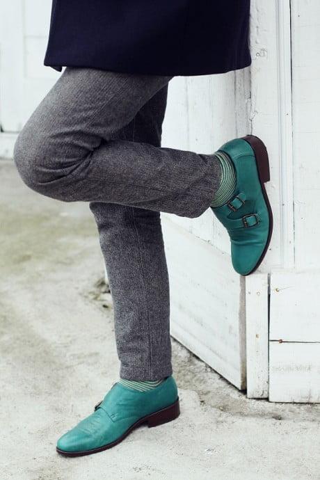 Pantofi verzi,pantaloni gri