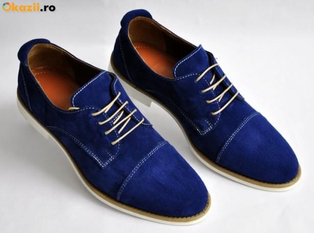 pantofi albastri piele intoarsa