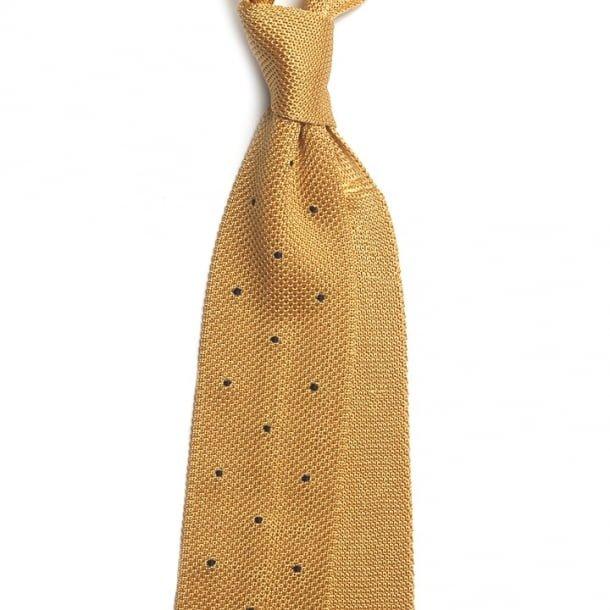 Cravata galbena tricotata din matase