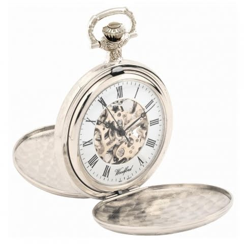 1048 woodford sterling silver mechanical double hunter pocket watch open