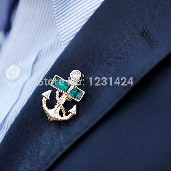 2014-Fashion-New-Personality-Shining-Gold-Plated-Green-Crystal-Metal-Anchor-Unisex-font-b-Brooch-b