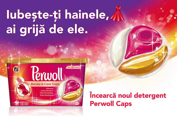Detergent Perwoll Renew & Care Caps -haine care arată ca noi mai mult timp
